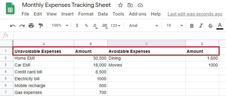 Spreadsheet for monthly expense tracking